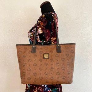 MCM Authentic Brown Medium Shopper Tote Bag